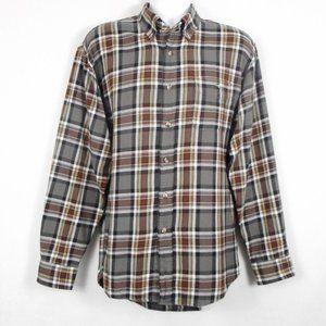Vtg Arrow Shirt L Gray Plaid Long Sleeve Button Up